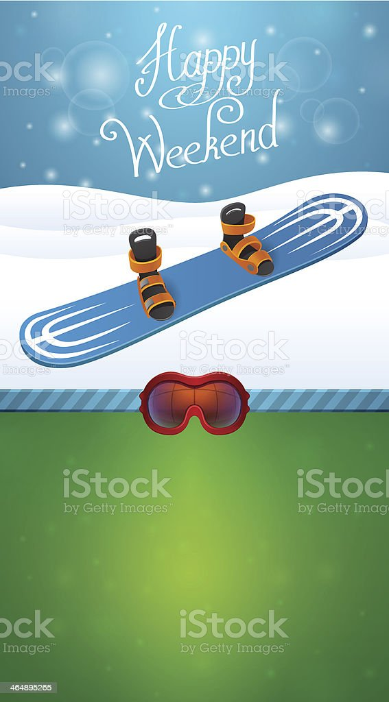 Heppy winter weekend blue snowboard royalty-free stock vector art