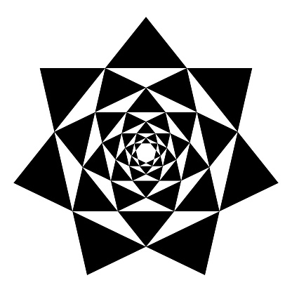Heptagrams in heptagrams, mandala and symbol with seven-pointed stars