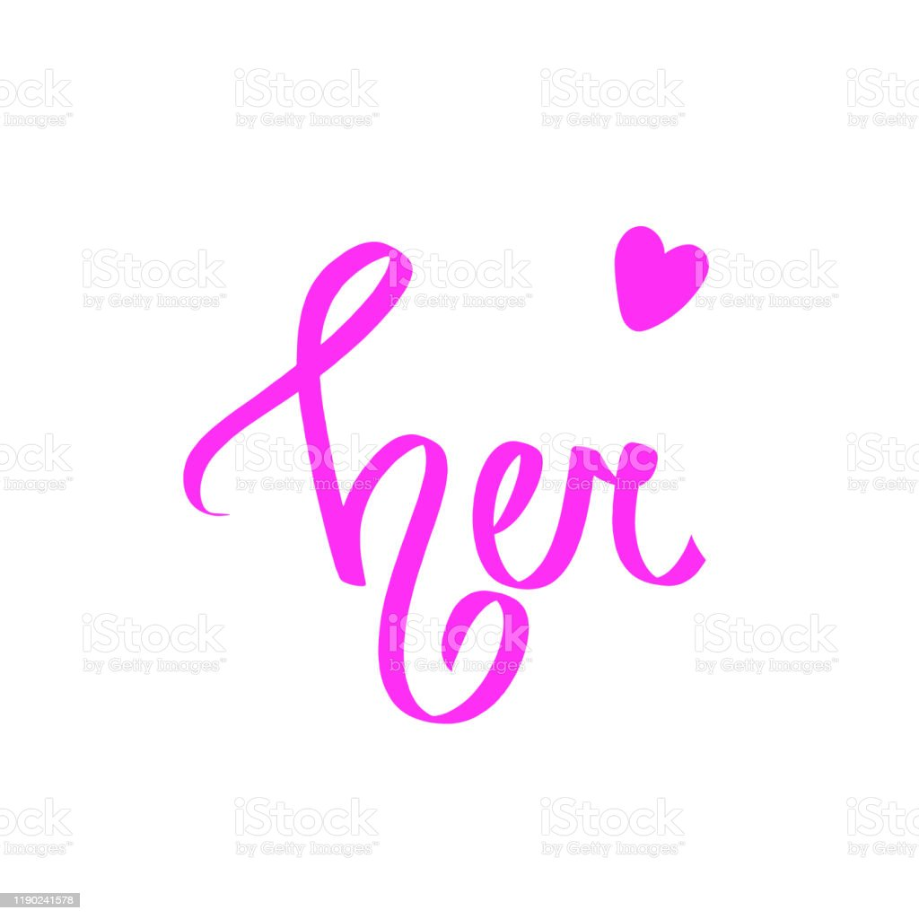Her Pink Calligraphic Word Font Design Sweet Letters
