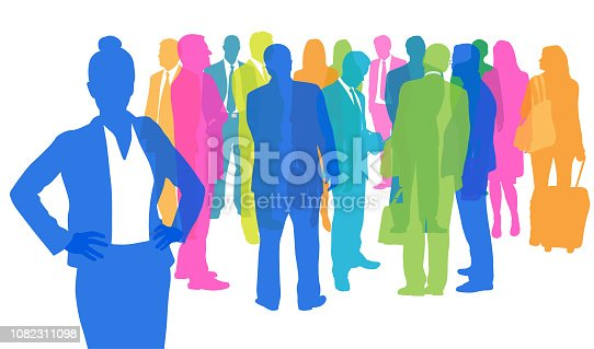 Group of business people standing and talking at a business conference