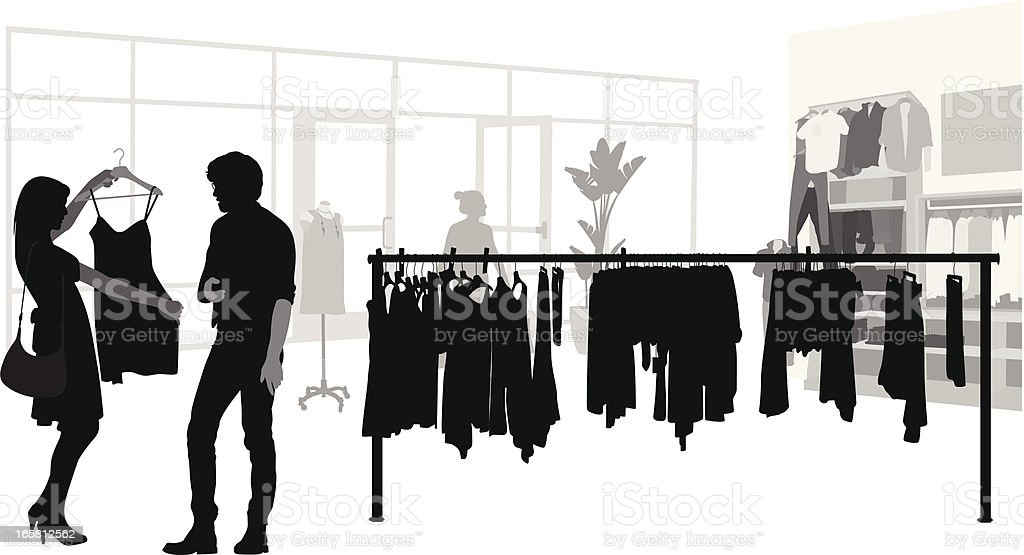 Her Shopping Vector Silhouette vector art illustration
