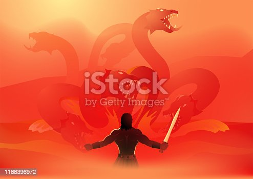Greek god and goddess vector illustration series, Heracles or Hercules fighting the Lernaean Hydra or Hydra of Lerna, Second Labor of Heracles
