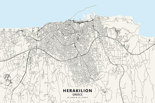 Heraklion, Crete, Greece Vector Map