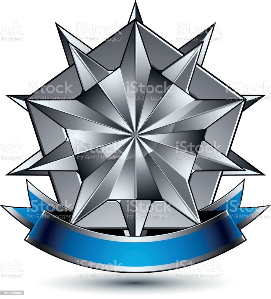 Heraldiska 3d glansiga blå och grå ikon - kan användas i webb och grafisk design, komplicerade silverstjärna placeras över sköld magnifika element med eleganta menyfliksområdet, avmarkera EPS 8 vektor. royaltyfri heraldiska 3d glansiga blå och grå ikon kan användas i webb och grafisk design komplicerade silverstjärna placeras över sköld magnifika element med eleganta menyfliksområdet avmarkera eps 8 vektor-vektorgrafik och fler bilder på allegorisk målning