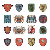 Heraldry, Sigil, Medieval signs, Coat Of Arms, Royal Houses, icons set