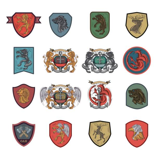 heraldic and coat of arms emblem icons - knight in shining armor stock illustrations, clip art, cartoons, & icons