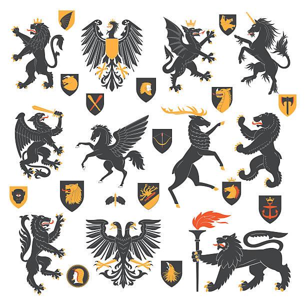 heraldic animals and elements - 그리핀 stock illustrations
