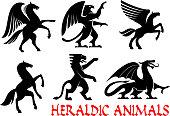 Heraldic animals emblems and icons