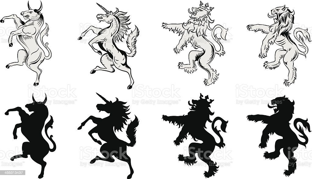 Heraldic animals vector art illustration