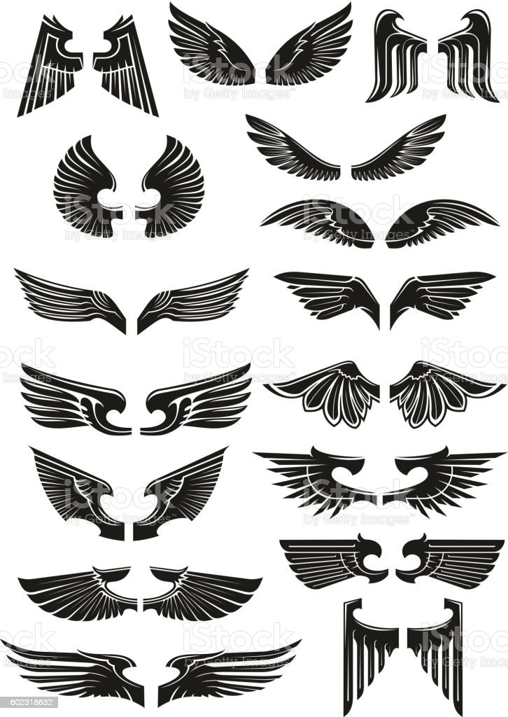 Heraldic black wings vector icons set - Illustration vectorielle