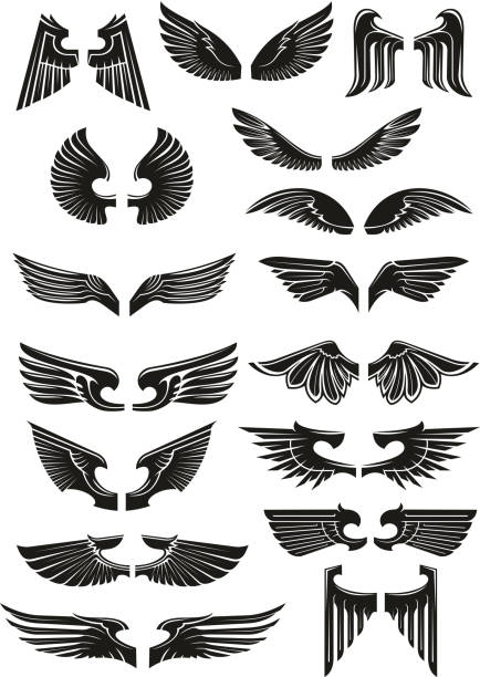 illustrations, cliparts, dessins animés et icônes de heraldic black wings vector icons set - tatouages d'anges