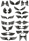 Heraldic black wings vector icons set