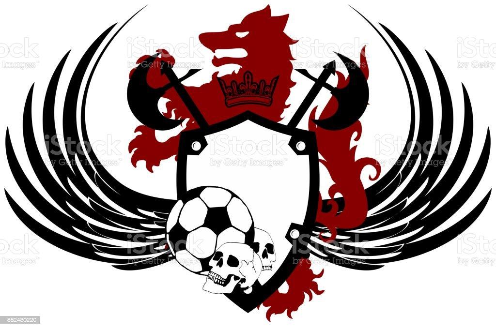 Ilustración De Lobo Negro Heráldico Tatuaje Fútbol Futbol Crest0 Y