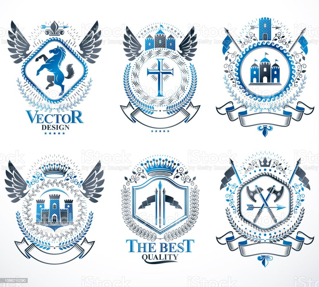 Heráldica brasão de armas criado com estrelas, animais, Torres, coroas e elementos do vetor vintage. Coleção de emblemas simbólicos com classe, conjunto de vetor. - ilustração de arte em vetor