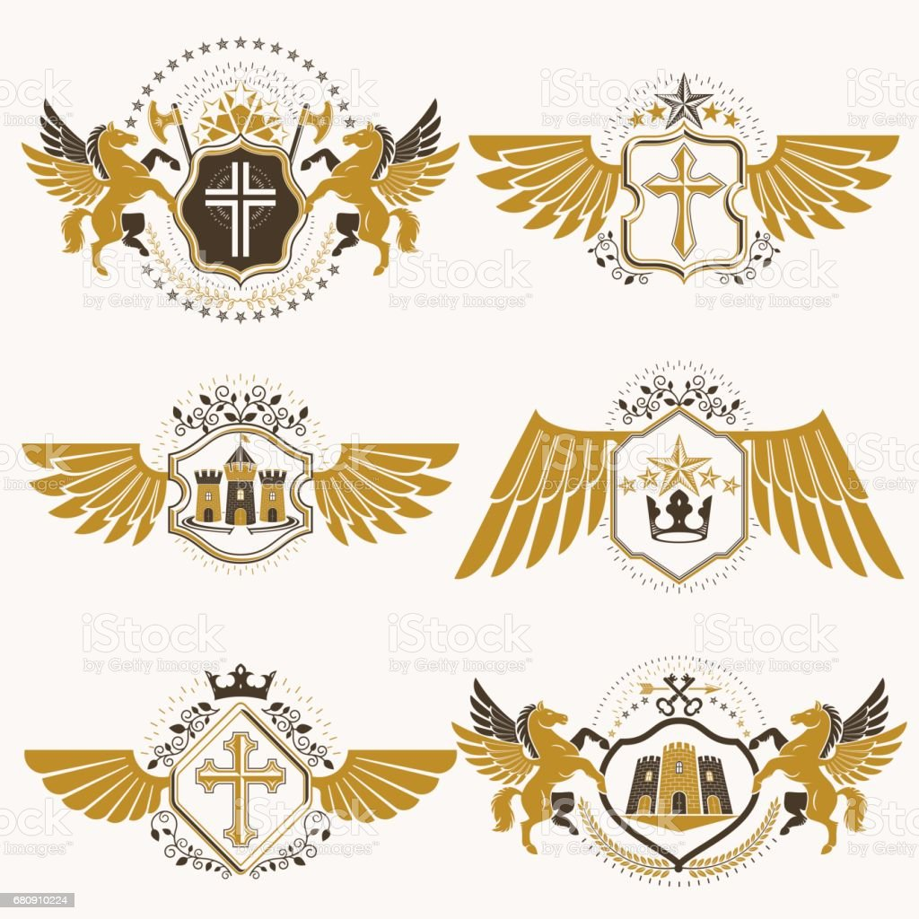 Heraldic coat of arms created with vintage vector elements bird heraldic coat of arms created with vintage vector elements bird wings animals towers biocorpaavc Images