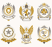 Heraldic Coat of Arms created with vintage vector elements