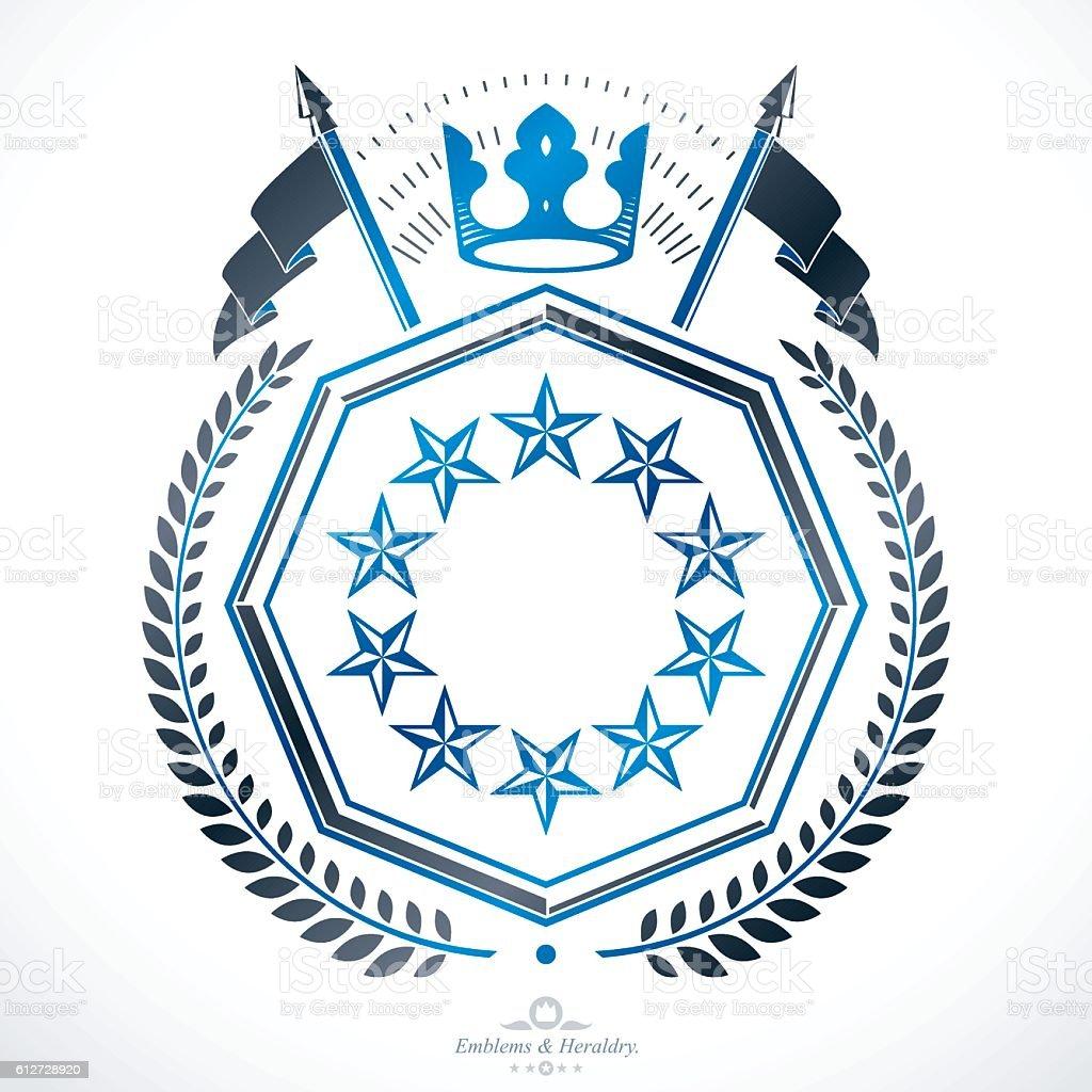 Heraldic Coat of Arms decorative emblem isolated - ilustração de arte em vetor