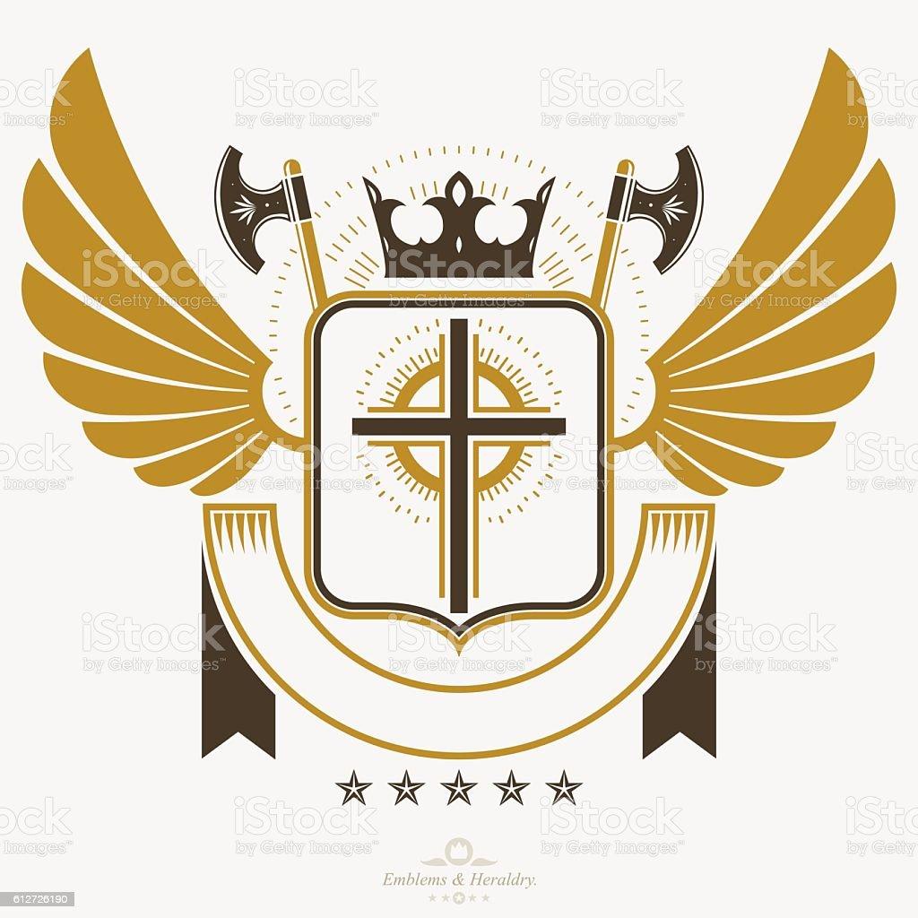 Heraldic Coat of Arms decorative emblem isolated vector illustra - ilustração de arte em vetor