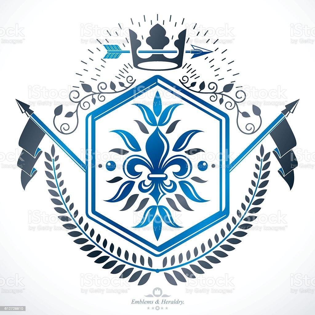 Heraldic Coat of Arms decorative emblem isolated vector illustration - ilustração de arte em vetor