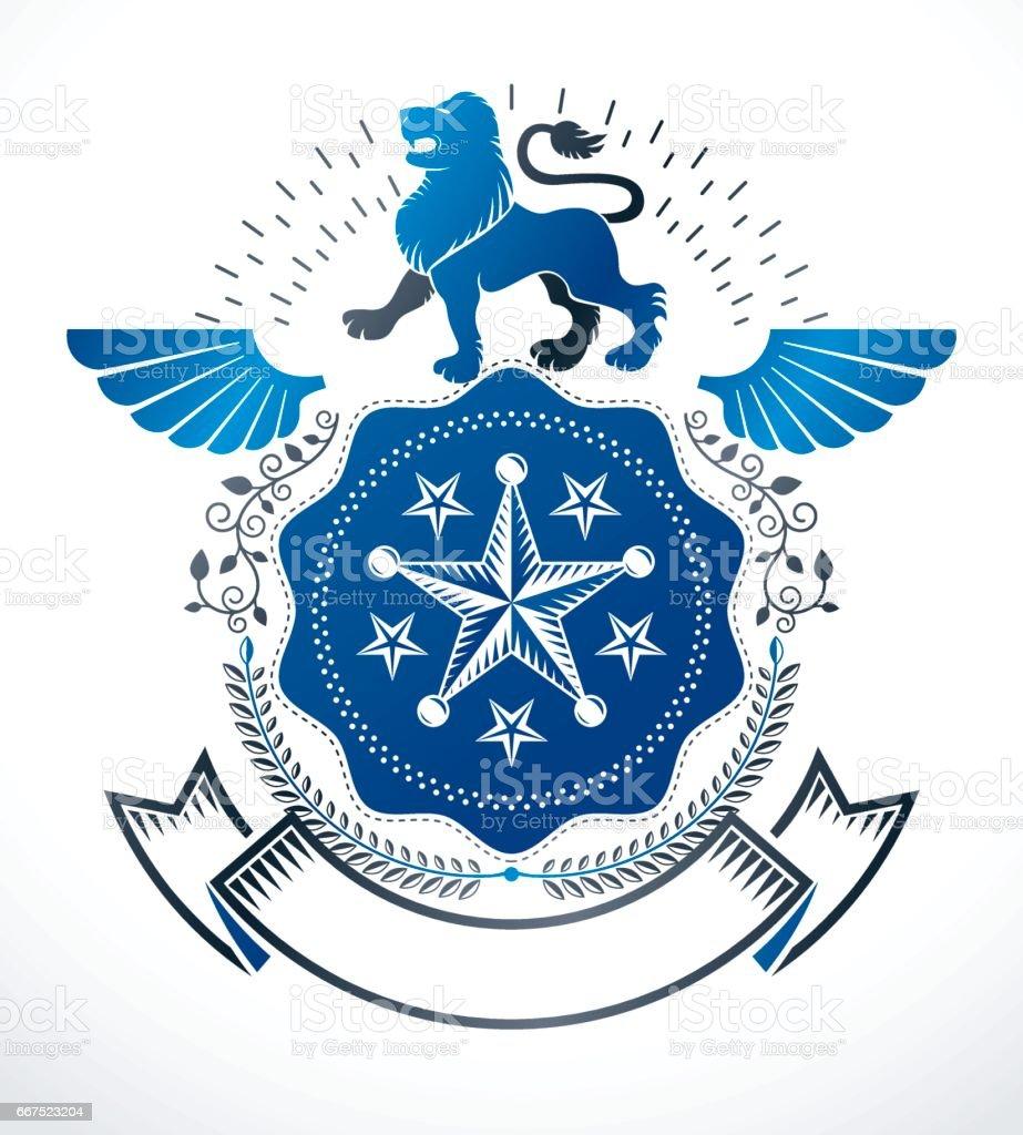 Heraldic Coat of Arms decorative emblem isolated vector illustration. heraldic coat of arms decorative emblem isolated vector illustration - immagini vettoriali stock e altre immagini di ala di animale royalty-free