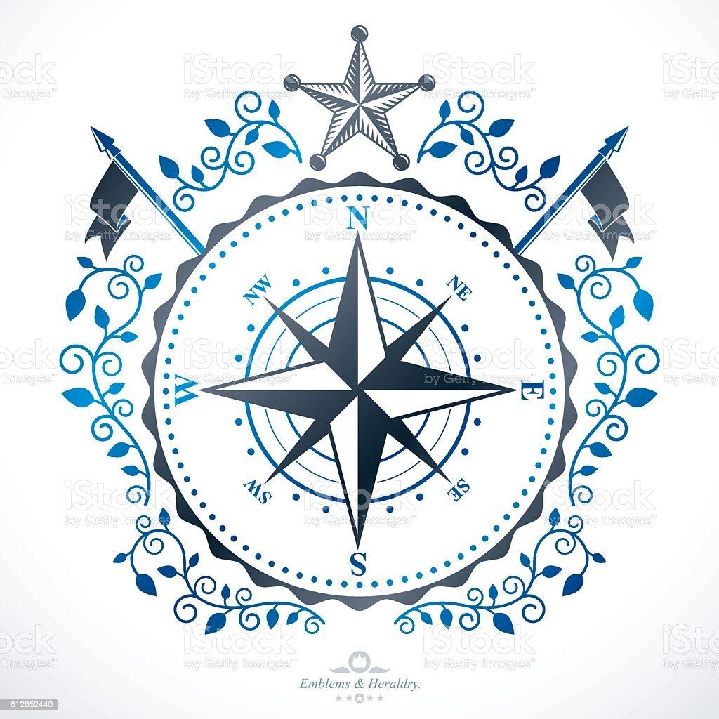 Heraldic coat of arms decorative emblem. - ilustração de arte em vetor