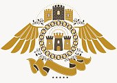Heraldic Coat of Arms decorative emblem, vector illustration of eagle wings and medieval fortress