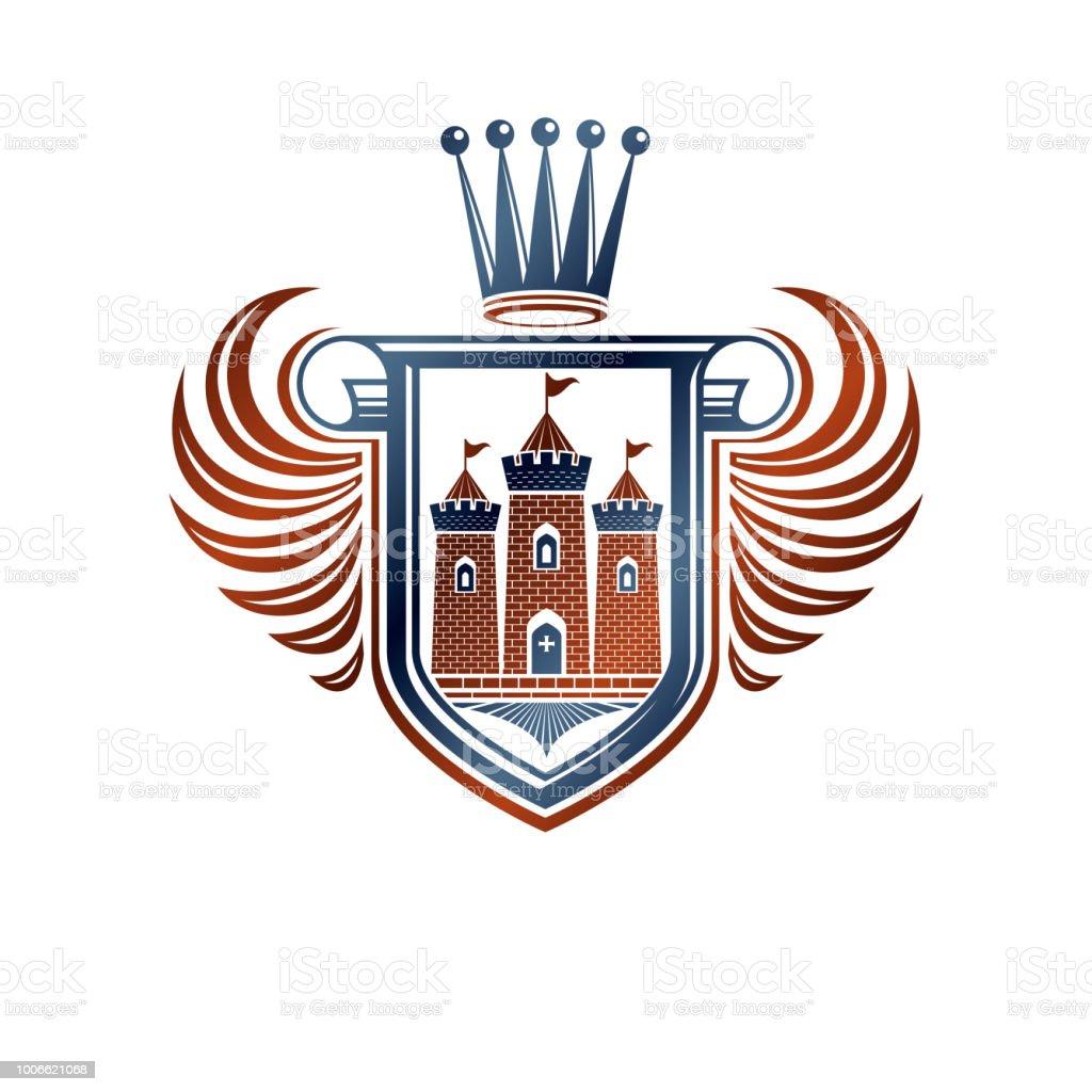 Heráldica brasão emblema decorativa com castelo medieval, ilustração vetorial isolado. Escudo de proteção alado com coroa imperial, de defesa. - ilustração de arte em vetor
