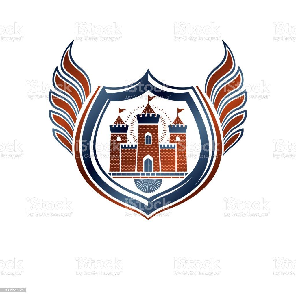 Heráldica brasão emblema decorativa com castelo medieval, ilustração vetorial isolado. Alado escudo de proteção. - ilustração de arte em vetor