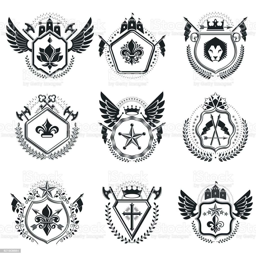 Heraldic Coat Of Arms Decorative Emblems Collection Of Symbols Stock