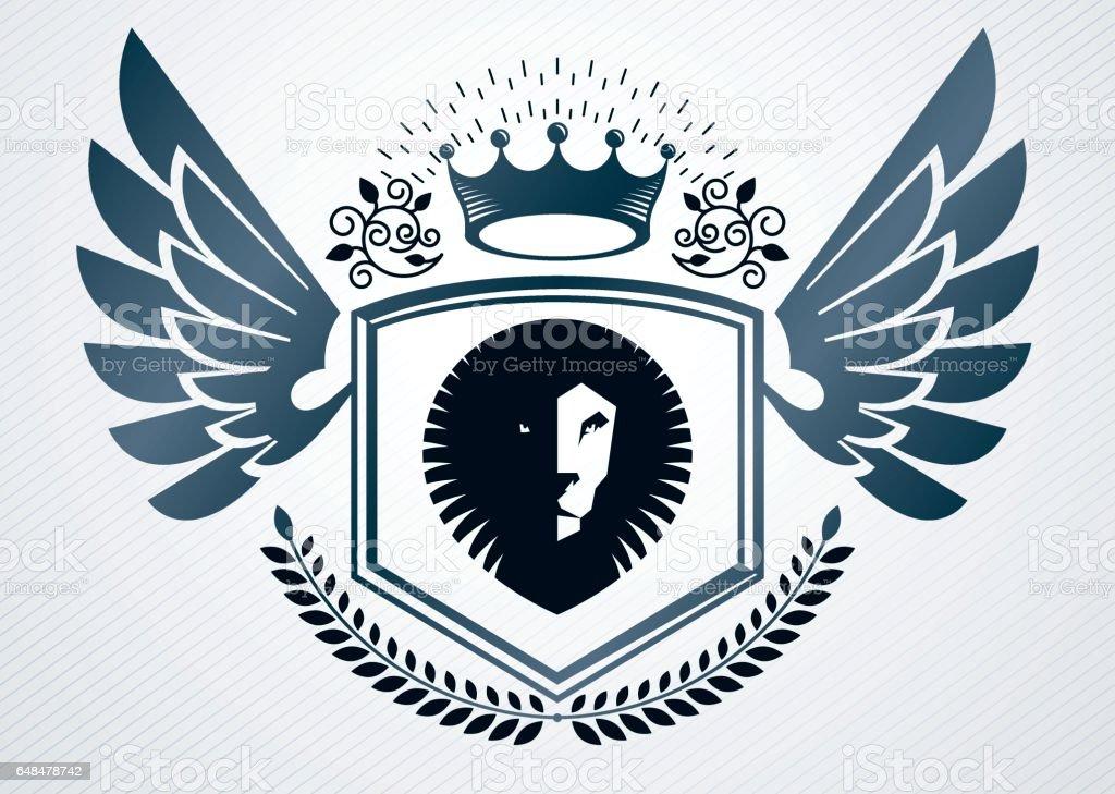 Brasão heráldico emblema de vintage decorativa, ilustração vetorial de coroa real e leão selvagem - ilustração de arte em vetor