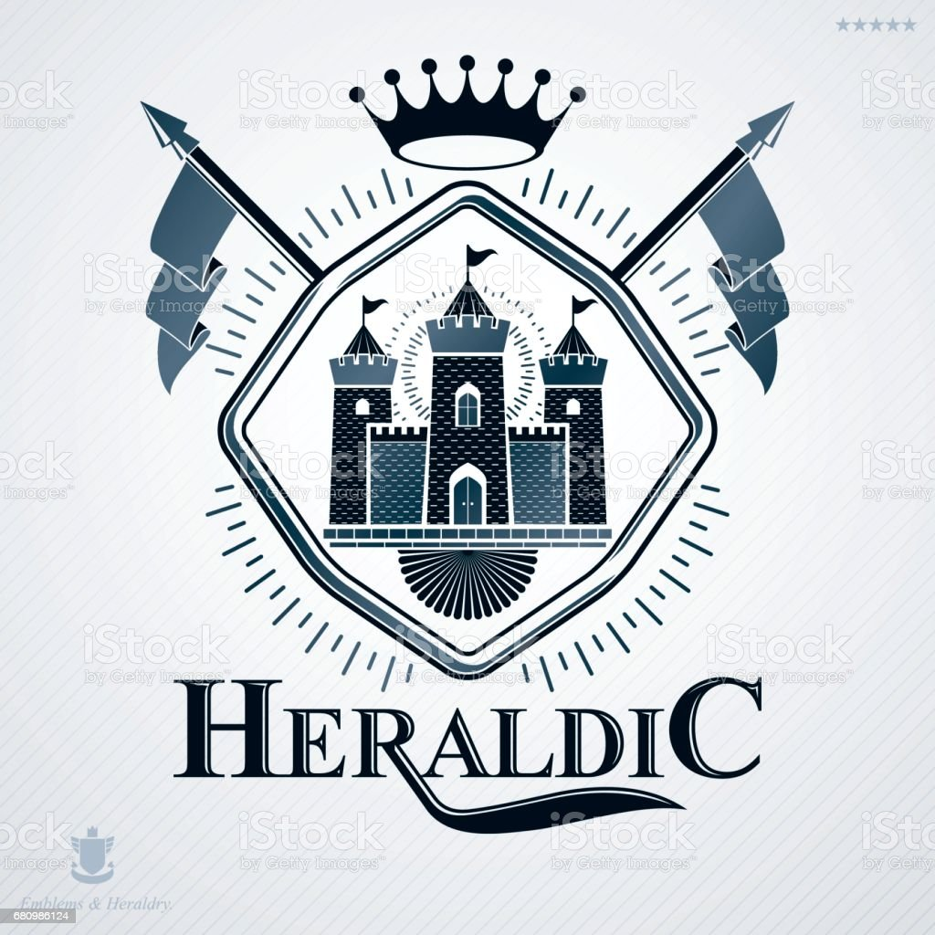 Heraldic coat of arms made in retro design, decorative emblem with medieval fortress and monarch crown royalty-free heraldic coat of arms made in retro design decorative emblem with medieval fortress and monarch crown stock vector art & more images of armory