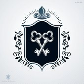 Heraldic Coat of Arms made with graphic elements, vector illustration created in vintage design.