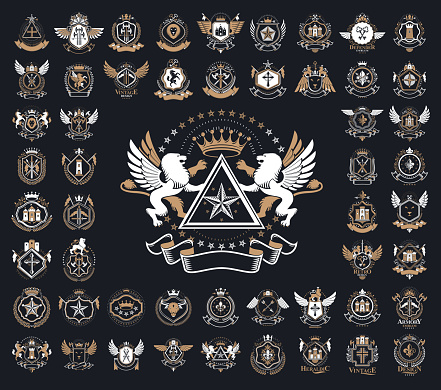 Heraldic Coat of Arms vector big set, vintage antique heraldic badges and awards collection, symbols in classic style design elements, family or business symbols.