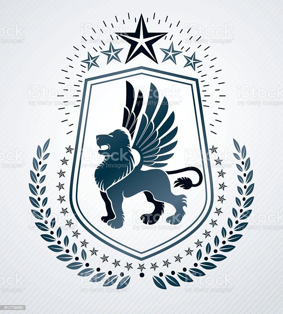 Heraldic Coat of Arms, vintage vector emblem. - ilustração de arte em vetor