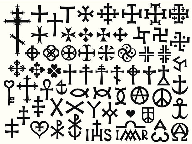 illustrations, cliparts, dessins animés et icônes de heraldic croix et christian les monogrammes - tatouages celtiques