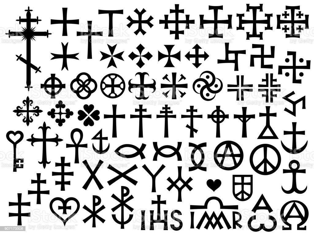 紋章のクロスと追加・ (キリスト教モノグラム ベクターアートイラスト