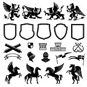 Heraldic design elements with animals and shields