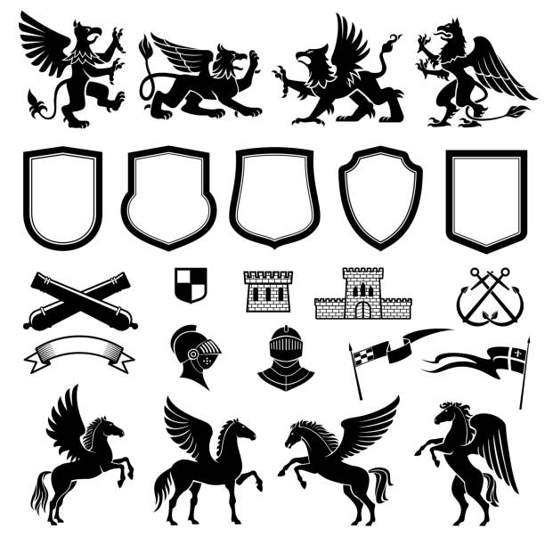 heraldic design elements with animals and shields - pegasus stock illustrations