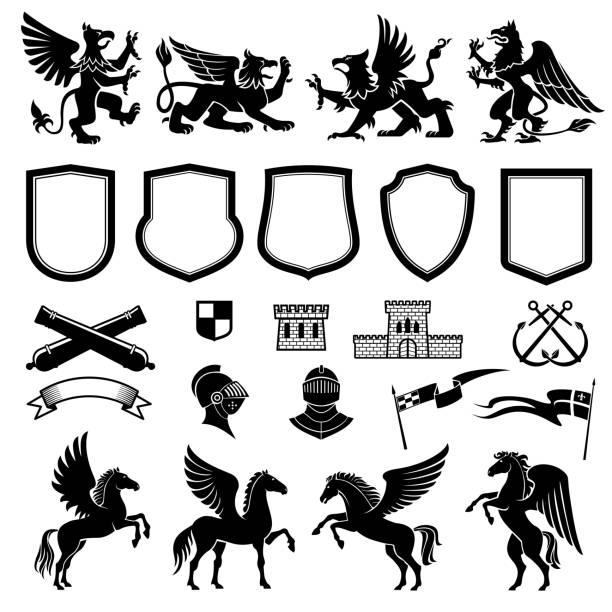 동물 및 방패 문장 학 디자인 요소 - 그리핀 stock illustrations