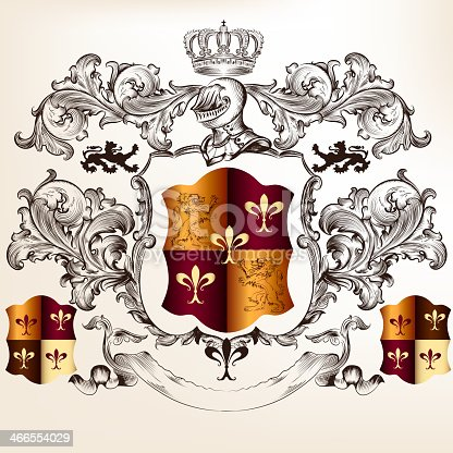istock Heraldic design with coat of arms and shield 466554029