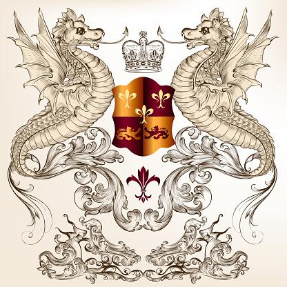 Heraldic design with dragons, fleur de lis and shield
