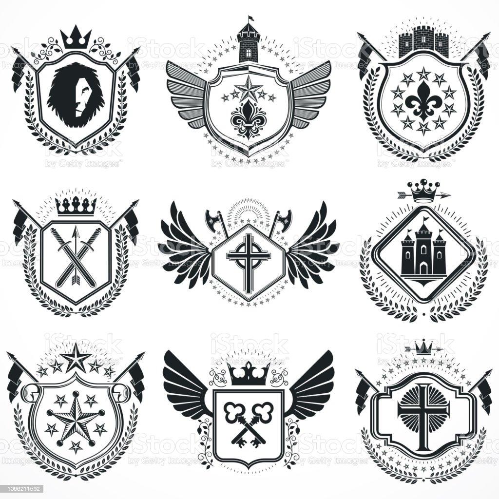 Desenhos heráldicos, vector emblemas vintage. Brasão de armas coleção, set vector. - ilustração de arte em vetor