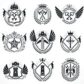 Heraldic designs, vector vintage emblems. Coat of Arms collection