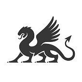 Heraldic Dragon Silhouette Logo. Vector