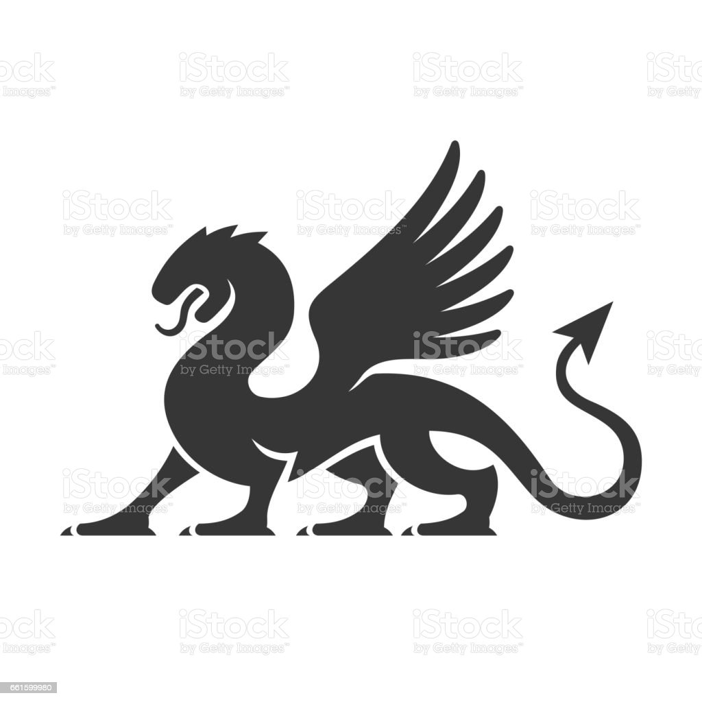 Heraldic Dragon Silhouette Logo. Vector vector art illustration