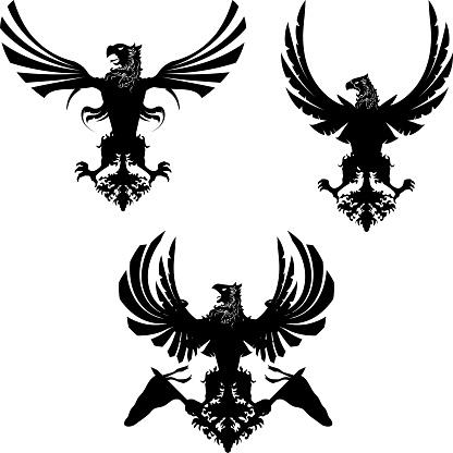 heraldic eagle set collection emblem crest illustration