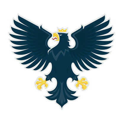 Heraldic eagle. Vector illustration of a proud eagle with spread wings.