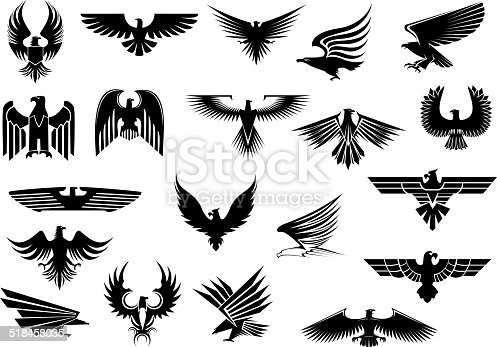 Heraldic black eagles, falcons and hawks set spread wings, isolated on white background
