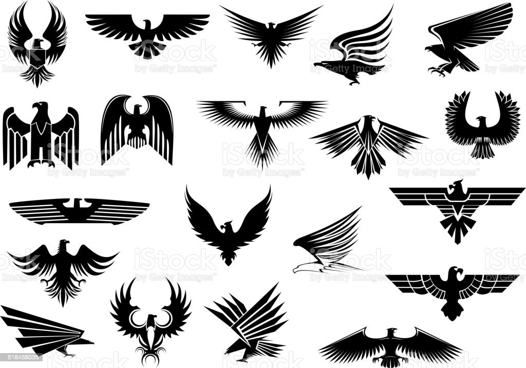 Heraldic eagles, falcons and hawks set vector art illustration
