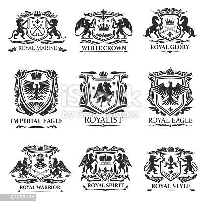 istock Heraldic eagles, lions, crowns. Royal heraldry 1192655124